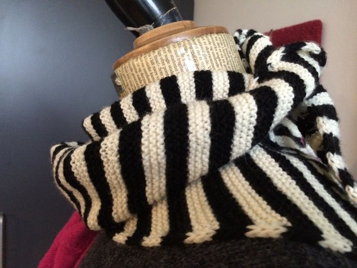 Scarf: Black snd White with broken stripes
