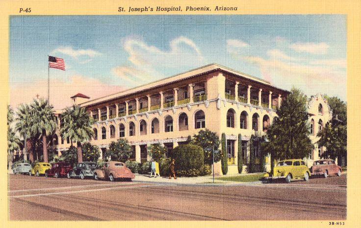 St. Joseph's Hospital Postcard, Vintage Unused Linen Card from Phoenix, Arizona by planetalissa on Etsy