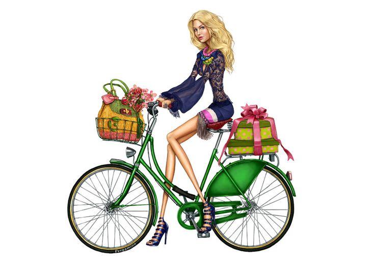 Fashion Girl on Bike, illustration / Ragazza alla moda in Bici, illustrazione - Art by Pergamino