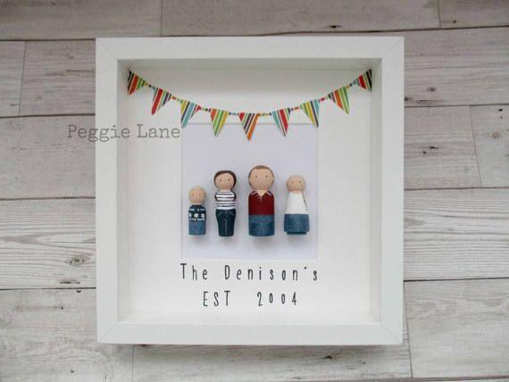 Framed Peg Dolls, Personalised gift, Mr & Mrs Gift, Framed Peg Family, Anniversary Gift, Fathers Day Gift, Peg Portrait, Family keepsake