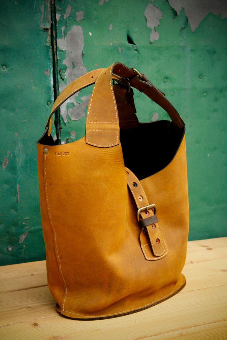 natural leather color whiskey oversized Ladybuq bag