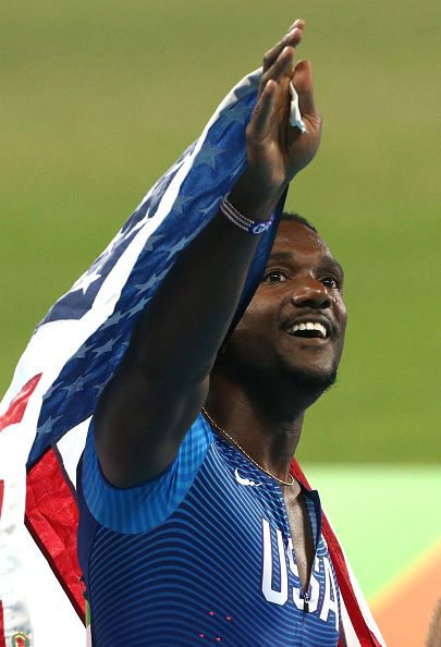 Justin Gatlin of USA celebrates winning the silver medal following the men's…