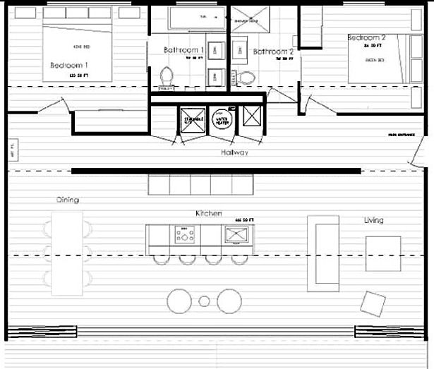A floor plan for a house made from shipping containers.