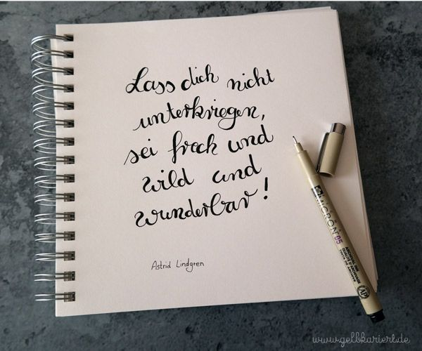 Blogparade Astrid Lindgren, Handlettering|Gelbkariert