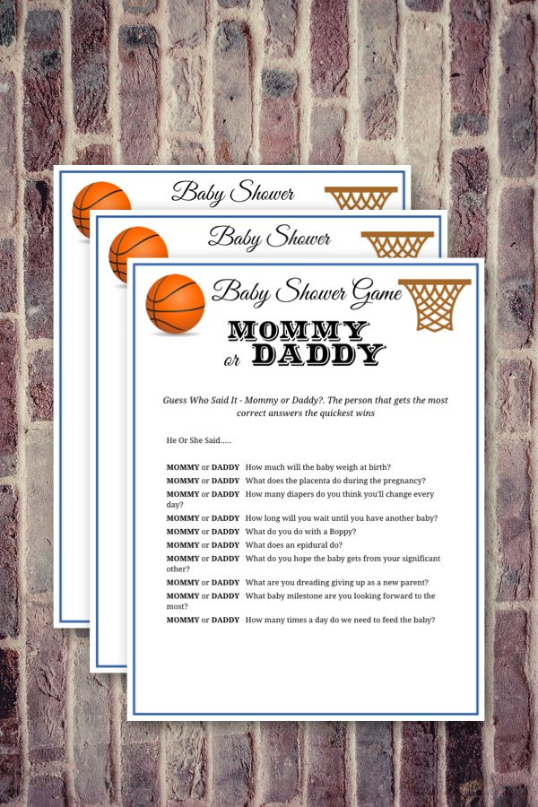 Instant Download Basketball Theme Mommy Or Daddy Baby Shower Printable Game Baby Shower Candy Bar Game Printable Baby Shower Games Baby Shower Printables