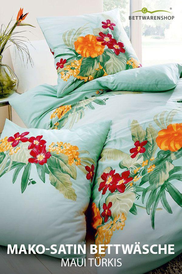Kaeppel Mako Satin Bettwasche Maui Turkis Bettwasche Bedding