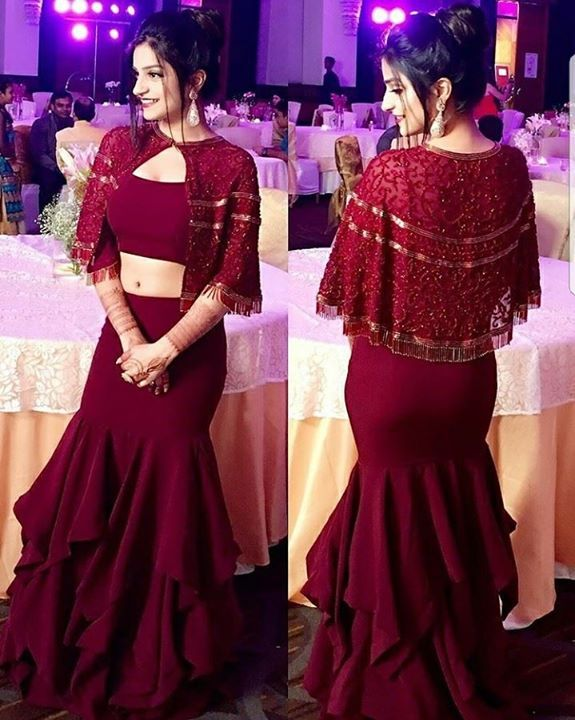 7f8b56c9d5 Deep Maroon wine fish cut flaired skirt paired with a crop top & cape. Price
