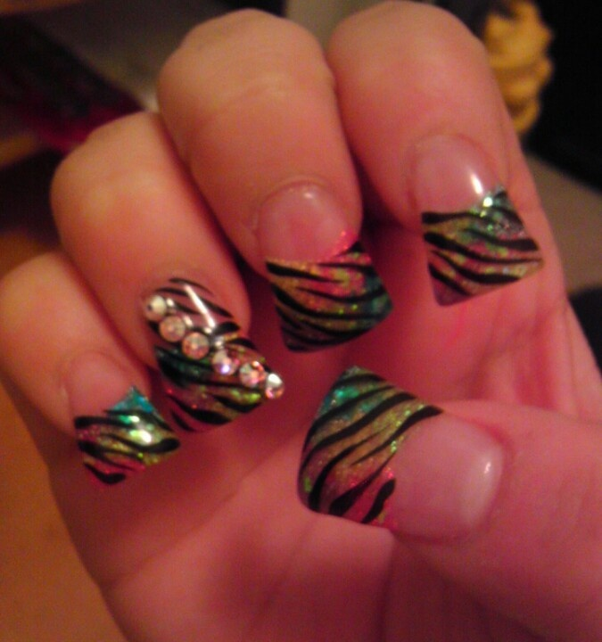 Zebra print duck tip nails