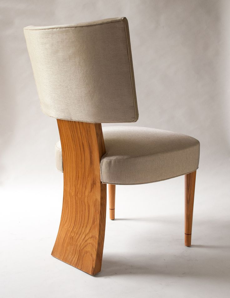 Set Of 6 Swedish Art Deco Dining Chairs In Elm Featuring 3 Legs