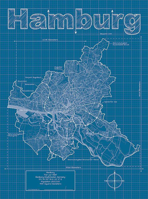 Hamburg Artistic Blueprint Map auf Etsy, 24,01€