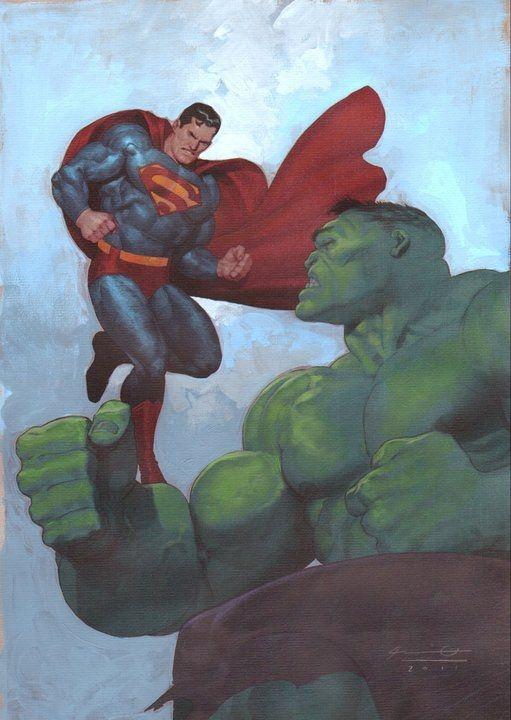 Hulk vs. Superman - Ariel Olivetti Comic Art