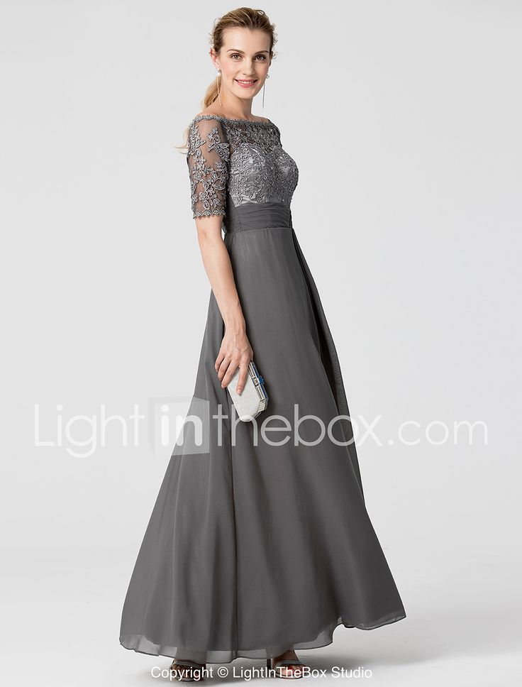 Linea-A Lungo Chiffon Di pizzo Serata formale Vestito con Perline Fascia / fiocco in vita di TS Couture® del 6022405 2017 a €91.69