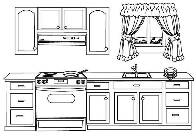 Foto Amoblamiento De Cocina Para Colorear Dibujo De Casa