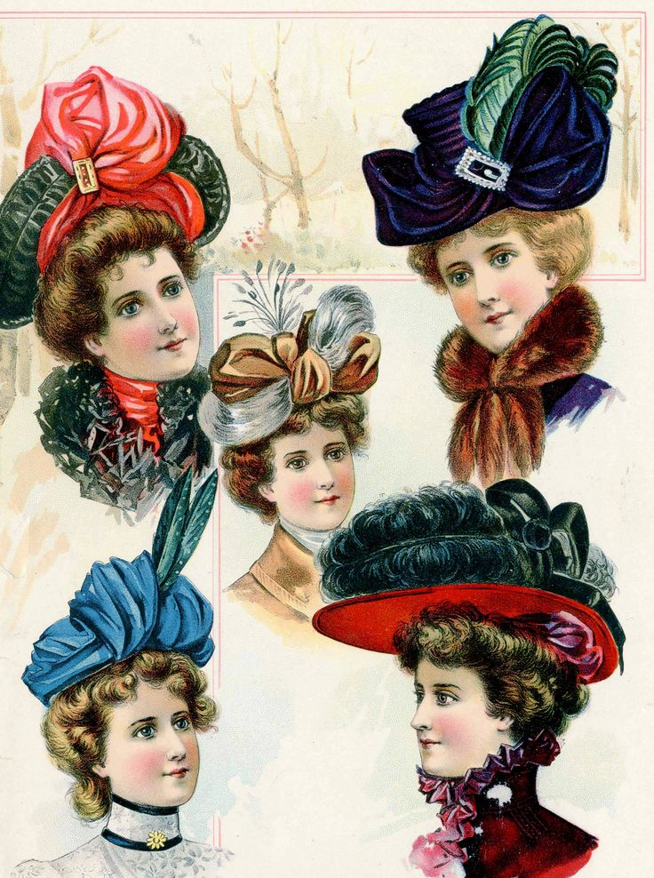 Victorian/Edwardian Fashion - 1900- Turn of the Century. big brimmed hats with…