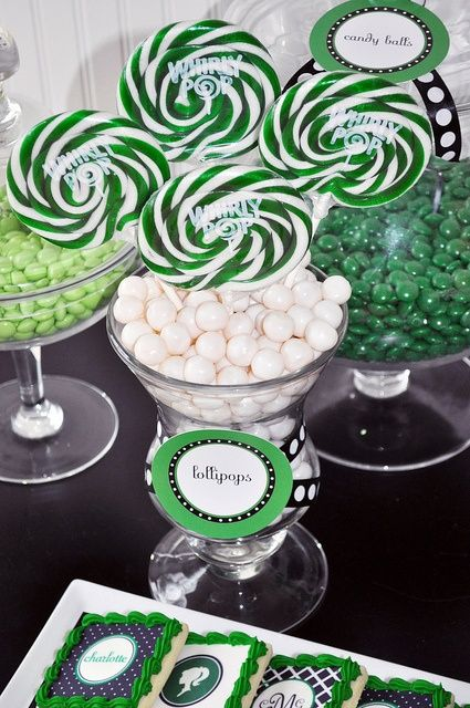 green and white candy centerpiece for graduation party