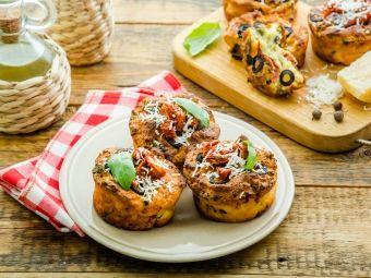 Сырные маффины с томатами и зеленью