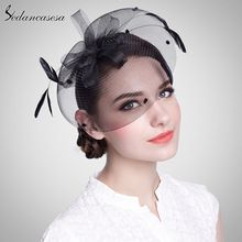 Feather Floral Black Ivory Fascinator Bridal Hats Clip For Women Party Wedding Evening TS0004(China (Mainland))