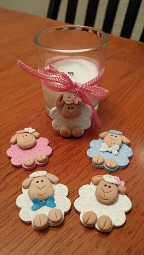 Polymer clay sheep charms