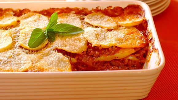Layered Mince Bake with a Golden Potato Topping