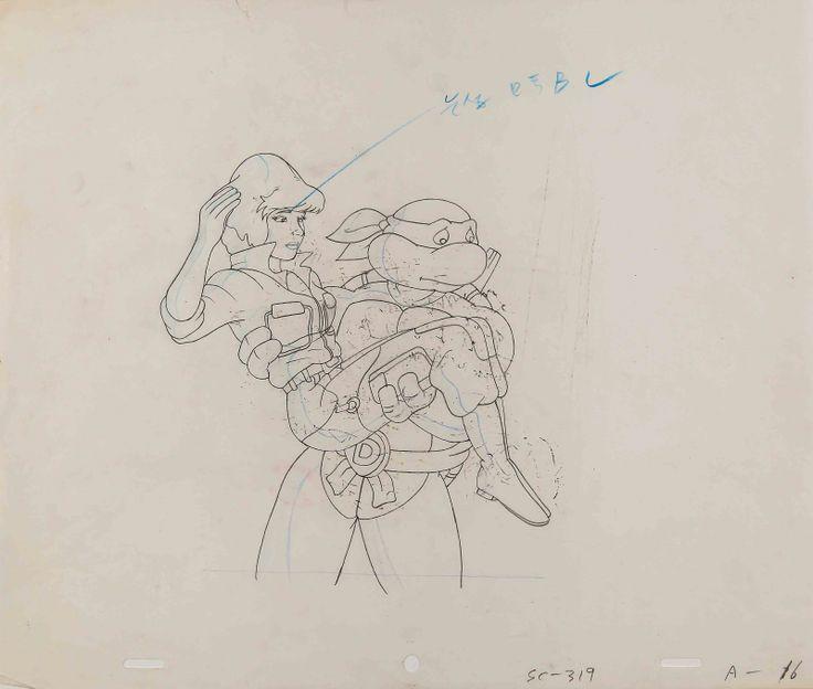 I LES TORTUES NINJA - Dessin original d'animation représentant..., GENERATION 80 : Mode Vintage, Jeux, Cellulos, Dessins Animés, Cinéma, Art Moderne et Contemporain, Design à Vermot et Associés