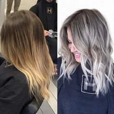 This is my clients 2nd time coming. She wanted to be ash blonde with a smudge root for easy grow out. So we did babylights all over with @goldwellny lightener then teased out ends. Then smudged with 7n @goldwellny colorance and 10 p on ends. by hairby_chrissy