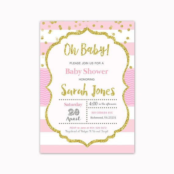 Oh Baby Pink and Gold Baby Shower Invitation Gold Glitter and