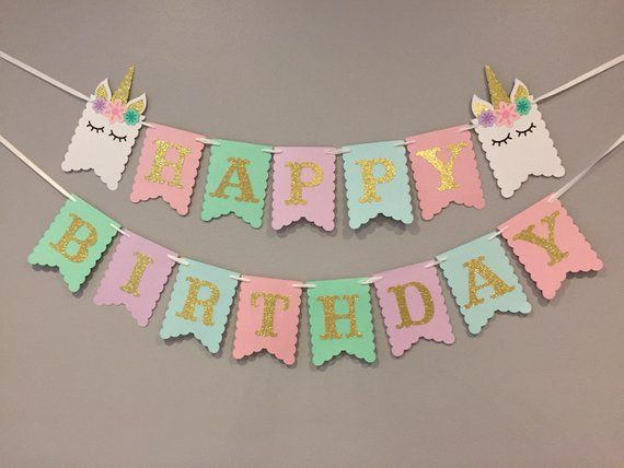 unicorn banner  first birthday  unicorn party  unicorn