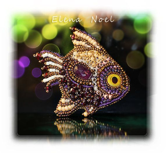 Embroidered Fish brooch with ametrine and garnet grit. Bead Embroidery Art