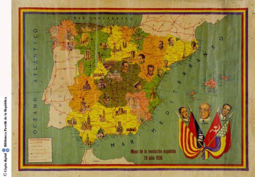 Mapa de la revolución Española, 19 julio 1936 :: Cartells del Pavelló de la República (Universitat de Barcelona)