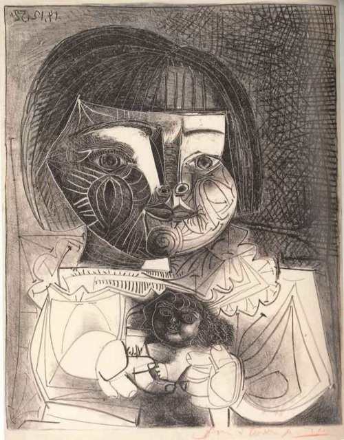 Picasso´s portray of his daughter Paloma and her Doll