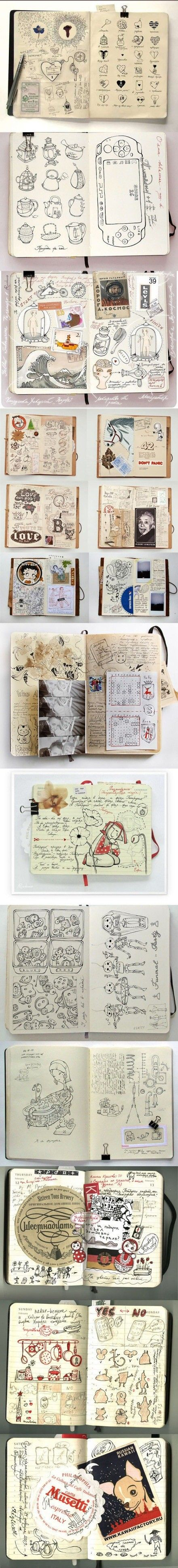 if you bought a bunch of cool moleskins but didn't know what to do with them, get your doodle on!