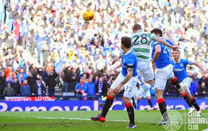 Celtic 2-0 Rangers, 1st February 2015. Leigh Griffiths heads the Bhoys in front early in the first half.