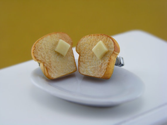 Buttered Toast  Studs / Post Earrings by shayaaron on Etsy, $16.50