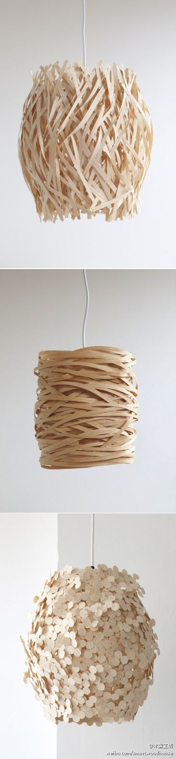 +   different lampshades made of wood veneer ...