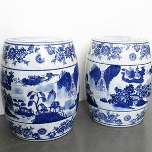 A Pair of Chinese Porcelain Barrel Seats - Decorative Collective