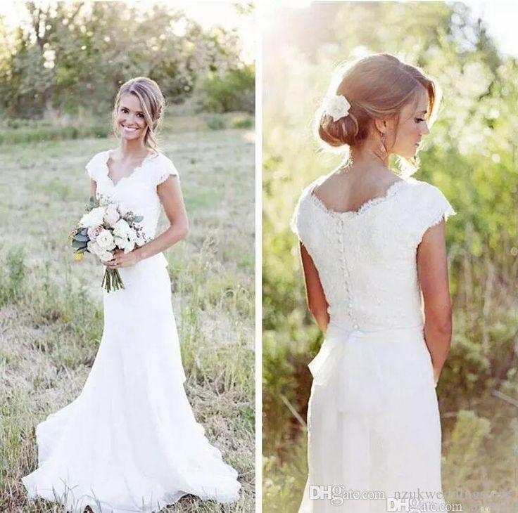 2018 Mermaid Lace Vintage Wedding Dresses Custom Made Elegant V Neck Cap Sleeve Modest Wedding Gowns Wedding Party Dress Gowns – Hochzeit