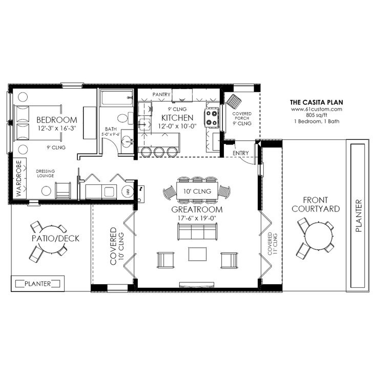 Small Backyard Guest House Plans: Casita Plan: Small Modern House