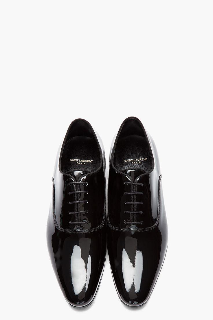 SAINT LAURENT Black patent leather Richelieu oxfords
