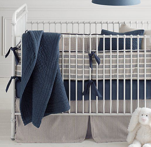Vintage Ticking Stripe & European Vintage-Washed Percale Nursery Bedding Collection