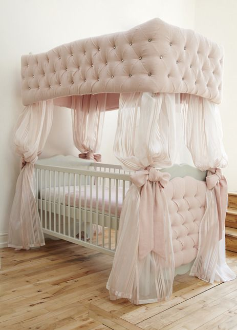 Luxury Children's Furniture & Interiors at Dragons of Walton Street, Shown Here is The Little Duchess Upholstered Cot.
