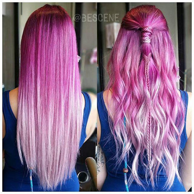 """Flushing Fuchsia"" hair color design by Linh Phan. ombre balayage pink hair HOT Beauty Magazine facebook.com/hotbeautymagazine #hotonbeauty"