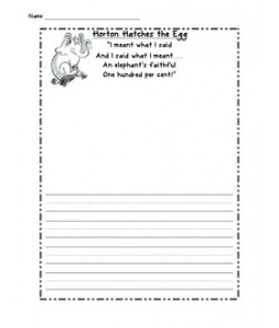 Horton Hatches the Egg writing paper