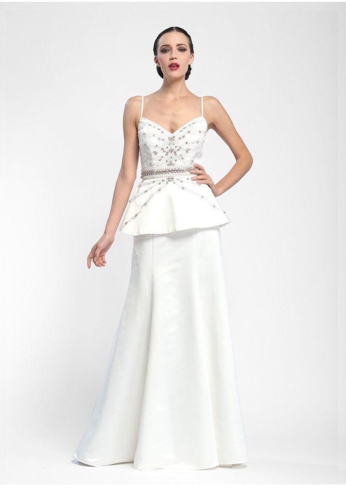 SUE WONG #N5335NM White Peplum Waist Embellished Gown Size 10 $613.80 NWT