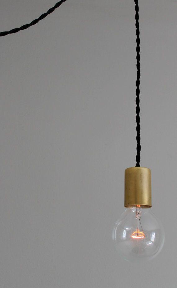 Modern Black And Brass Bare Bulb Pendant Light Lamps