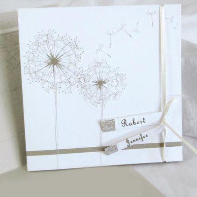 Romantic dandelion white wedding invitations EWRI006 |