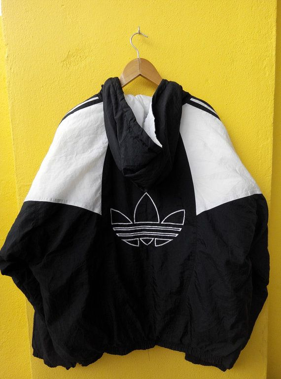 ADIDAS Trefoil Usa Vintage 90s Black White Bomber Hoodie Jacket Run Dmc Hip Hop Streetwear Size XL PLEASE ASK ANY QUESTION BEFORE BUYING!!!