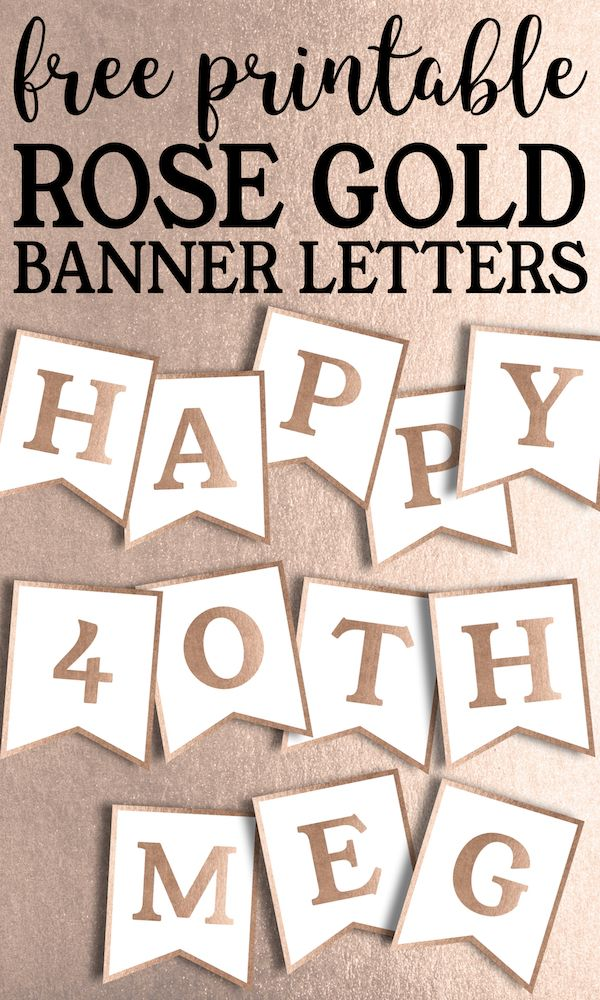 picture regarding Free Printable Birthday Banners Personalized referred to as No cost Printable Rose Gold Banner Template Birthday Functions