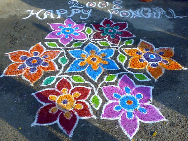 Kolam drawn during pongal festival
