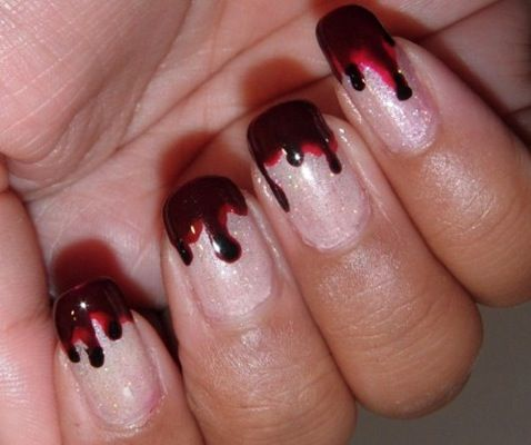 bloody tipped nails (really more for @Leisa Stamey)True Blood, Trueblood, Nailart, Halloween Costumes, Halloween Nails Art, Nails Polish, Bloody Nails, Nail Art, Halloween Ideas