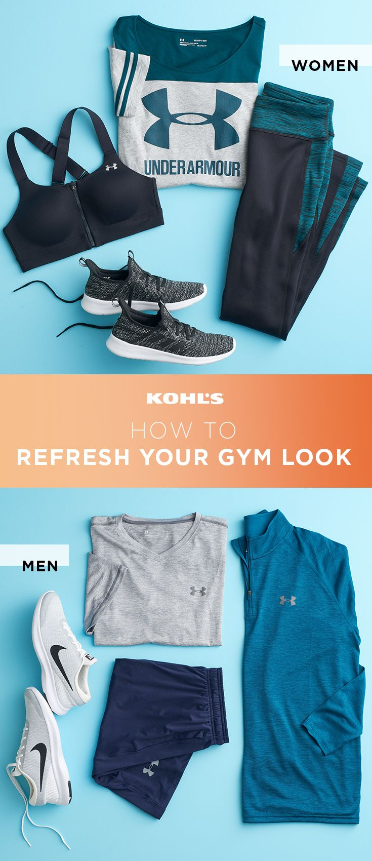 Adding a new outfit into your gym gear rotation is all it takes to keep your workout look fresh. Think solids in darks and neutrals that you can mix and match with your tried-and-true favorites. For women, get a new sports bra, a sweatshirt, running tights and sneakers. For guys, go for new running shoes, a tee, shorts and a pullover. Reach your fitness goals with Under Armour, adidas and Nike at Kohl's. #fitnessfashion #running